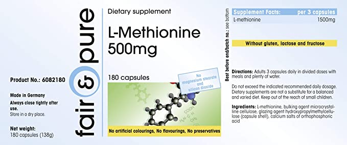 L-Metionina 500mg, altamente dosificado, vegano, 180 cápsulas y conservantes