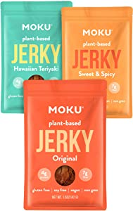 Moku Plant-Based Mushroom Jerky (3 Pack) Vegan Jerky, Gluten-Free, Soy-Free, Non-GMO Vegan Snacks, Vegan Meat No Artificial Sweetener Vegan Food, 1.5 oz ea - Variety Pack