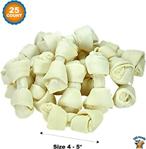 123 Treats | 4-5 inches Rawhide Bones for Dogs |100% Natural Knot Bones from Beef Hides Chews| Free Range Grass Fed Cattle with No Hormones, Additives or Chemicals