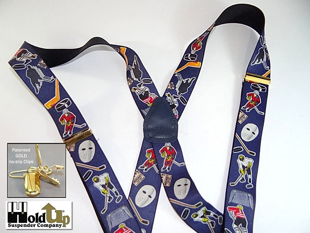 Hold-Ups Slap Shot Hockey Pattern X-back Suspenders Gold Clips