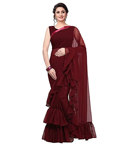 276373418a Magneitta Women's Georgette Solid Ruffle Saree (Maroon): Amazon.in ...