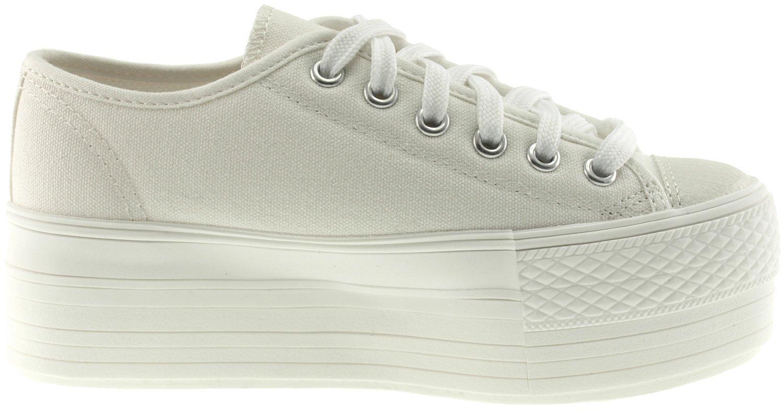 Maxstar Women's C50 6 Holes Platform Canvas Low Top All Sneakers B01FH5OYAE 10B(M) US Women|White