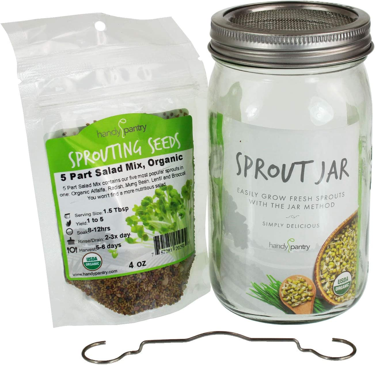 Trellis Co. Complete Sprouting Jar Lid Kit With Seeds Includes Wide Mouth Quart Jar, 316 Stainless Sprouting Ring With Mesh Strainer, Sprouting Stand, And Handy Pantry Sprouting Seeds