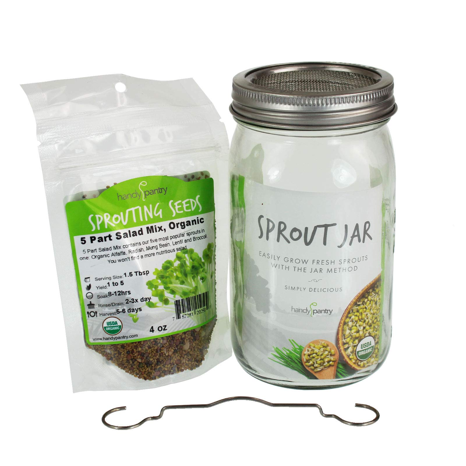 Complete home kitchen sprouting system. Includes wide mouth quart jar, 316 stainless steel sprouting ring with mesh strainer, a counter drain stand, Protein Powerhouse, organic sprouting seed mix