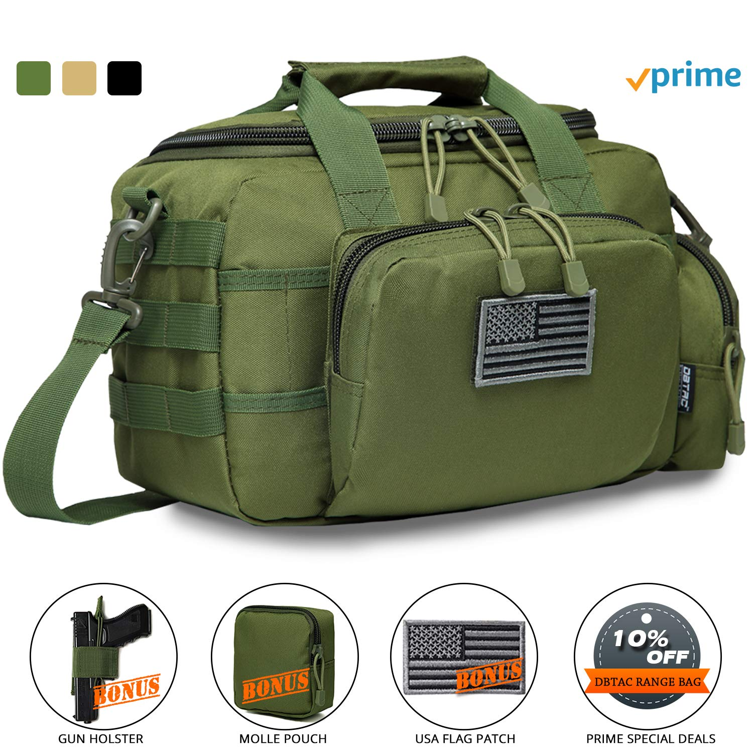 DBTAC Gun Range Bag Small | Tactical 2X Pistol Shooting Range Duffle Bag with Lockable Zipper for Handguns and Ammo | Free Molle Pouch, Hook-Fastener Gun Holster and US Flag Patch Included (OD Green) by DBTAC