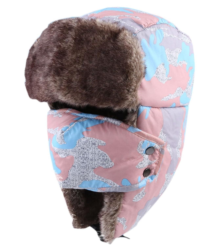 VLUNT Warm Wasserdichte Pelzmuetze Unisex Fellmuetze mit Dicken Mask Anti -Wind / Schnee / Kalt fuer Wintersport -- Radsport/Ski/ Ausflug/ Bergsteigen