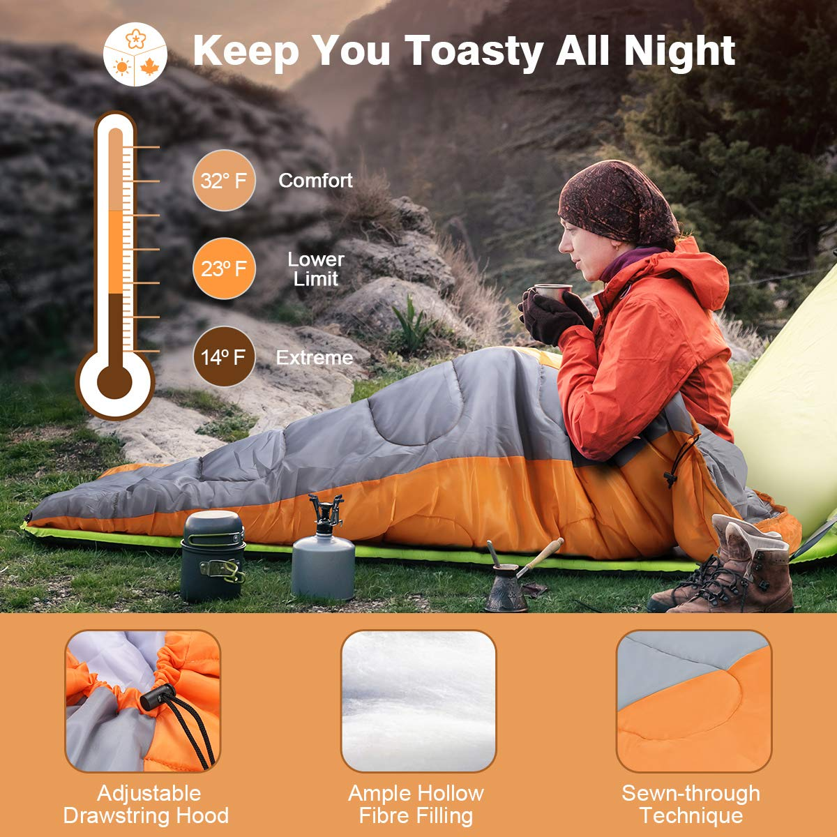 LANGRIA Envelope Sleeping Bag with Compression Sack Compact /& Lightweight/Sleeping Bags for 3 Season Indoor//Outdoor Sleepover Camping Backpacking Hiking Festival