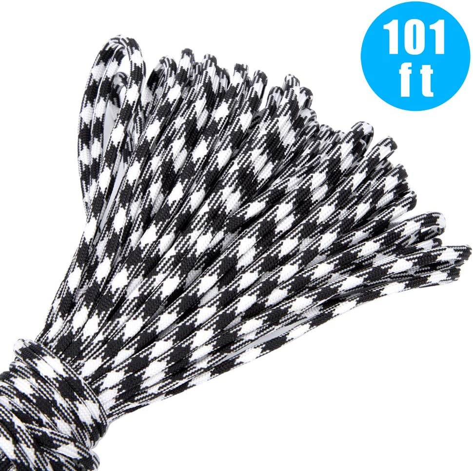Outdoor Survival Rope Set for Making Monkey Fist,lanyards,Keychain,Carabiner,Dog Collar Paracord Bracelet kit 101Ft Paracord Rope and 24 Pcs Paracord Buckles Contoured Side Release Strong Clips