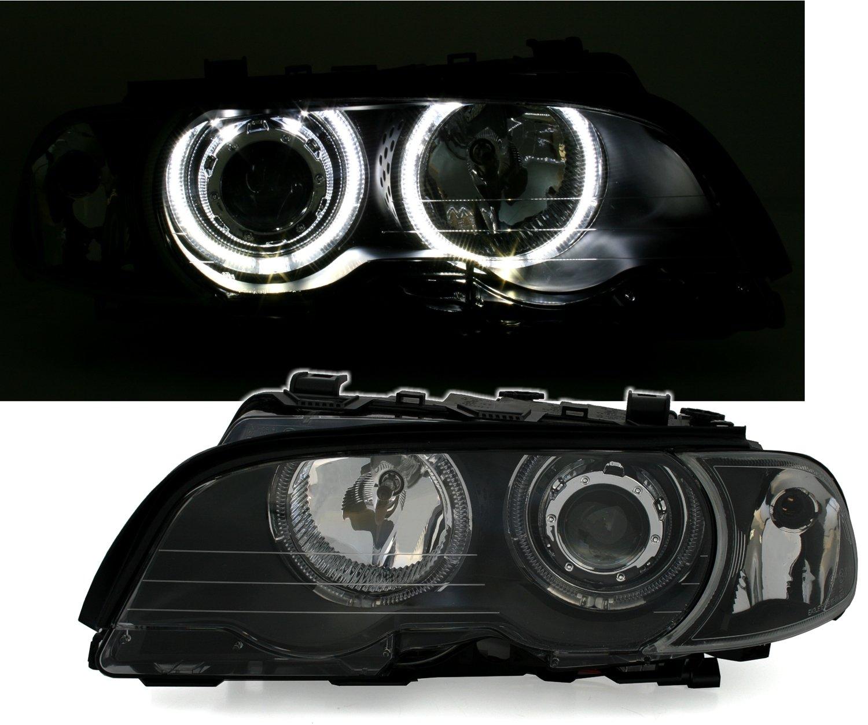 LED Angel Eyes Scheinwerfer Set in Klarglas Schwarz, inkl. Blinker Eagle Eyes