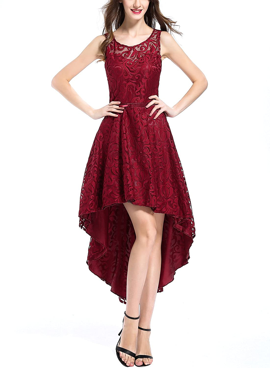 OWIN Womens Vintage Elegant Floral Lace Sleeveless High Low Swing Party Gown Bridesmaid Dress