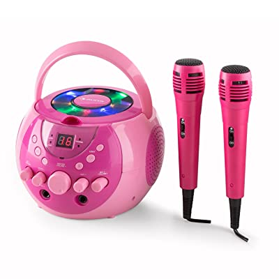 auna SingSing - Karaoke para niños , Set de Karaoke , 2 x micrófonos dinámicos , Reproductor de CD , Medios CD + G , Efecto de Eco , AVC , Salida de Video , Efecto de luz LED , Rosa: Electrónica