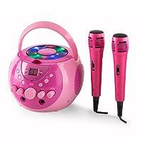 auna SingSing Kinder Karaoke-Set • portable Karaoke-Anlage • CD-Player • Multicolor-LED-Lichteffekt • A.V.C-Funktion • programmierbar • Batteriebetrieb möglich • inkl. 2 x dynamisches Mikrofon • pink