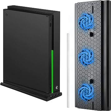 MoKo Soporte Vertical con Ventilador de Refrigeración para Xbox One X, Soporte de enfriamiento con 3 Puertos USB 2.0 Barra de Iluminación LED Solo para Consola Xbox One X,Negro: Amazon.es: Electrónica