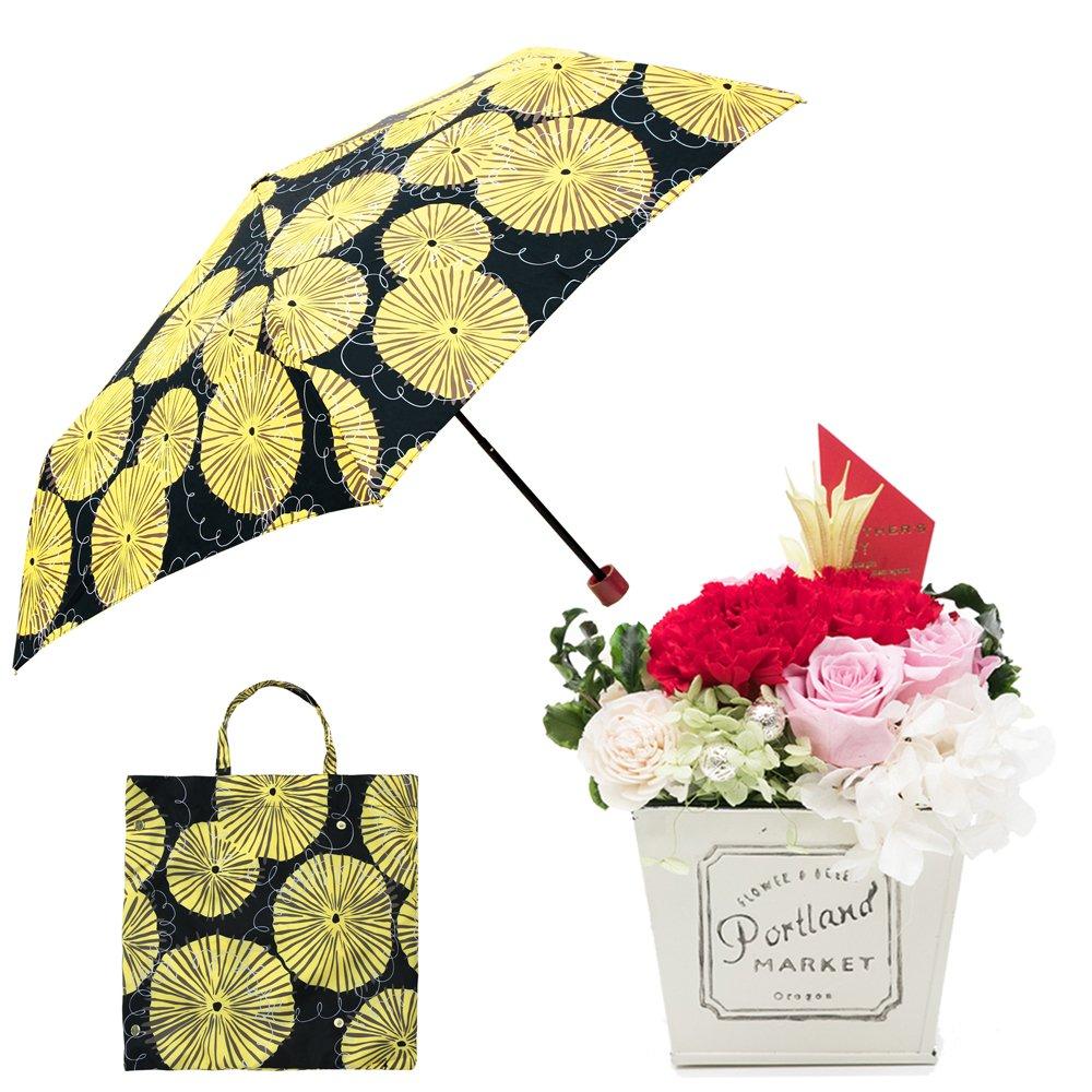 母の日ギフト プリザーブドフラワーと折り畳み傘のギフトセット B07CJF372D お花:赤/Mサイズ ダンデライオン/クロ ダンデライオン/クロ お花:赤/Mサイズ