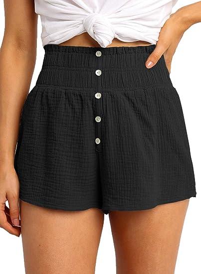 Dokotoo Womens 2020 Fashion Casual Summer Beach Elastic Waist High Waist Button Down Holiday Shorts Cute Short Pants White X-Large