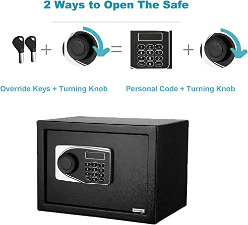 Safe Box, Safe and Lock Box,0.57 Cubic Feet Electronic Security Digital Safe, Home Safe for Storing Jewelry Passports Cash Use Storage with Keys and Tools 13.7 x 9.8 x 9.8