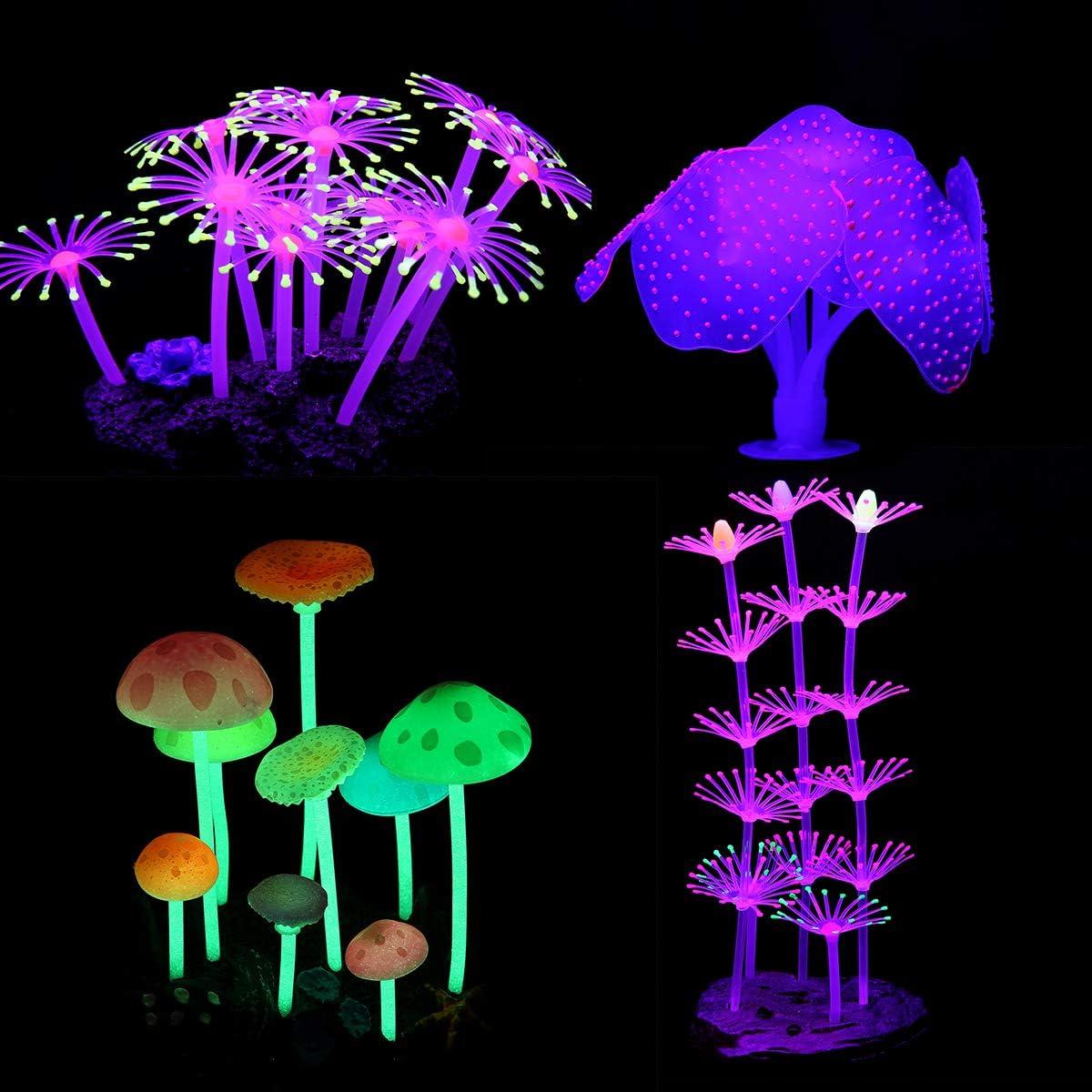LANSEYQO Aquarium Fish Tank Decorations, Glowing Simulation Coral Mushroom Plant for Fish Tank Ornament 4 Pack