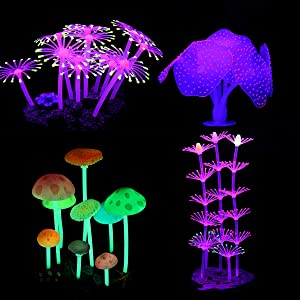LANSEYQO Aquarium Fish Tank Decorations, Glowing Simulation Coral Mushroom Plant for Fish Tank Ornament 4 Pack