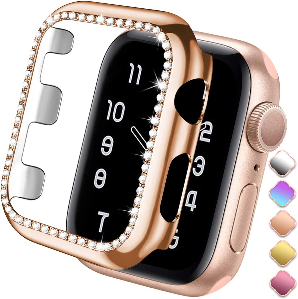 ZAROTO 38mm Case Compatible for Apple watch SE protector 38mm Series 3 2/1, Bling Diamond Shiny Rhinestone Bumper Glitter Full Protective Plate Frame for Women Girl iWatch Cover Sparkle 38mm Rose Gold