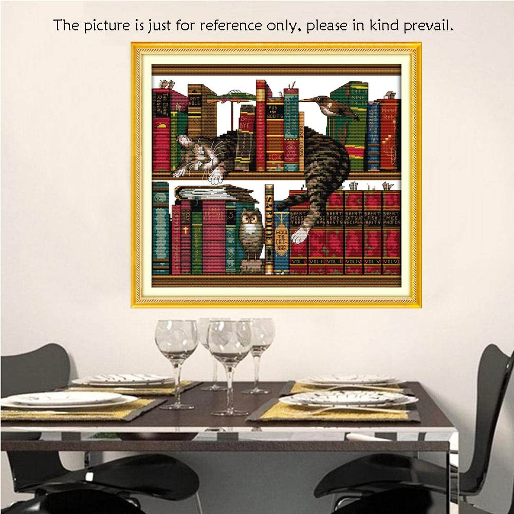 Galapara DIY Handmade Needlework Counted Cross Stitch Set 14CT Cat on Bookshelf Pattern Cross-Stitching 41 38cmEmbroidery Kit,NOT Include Frame