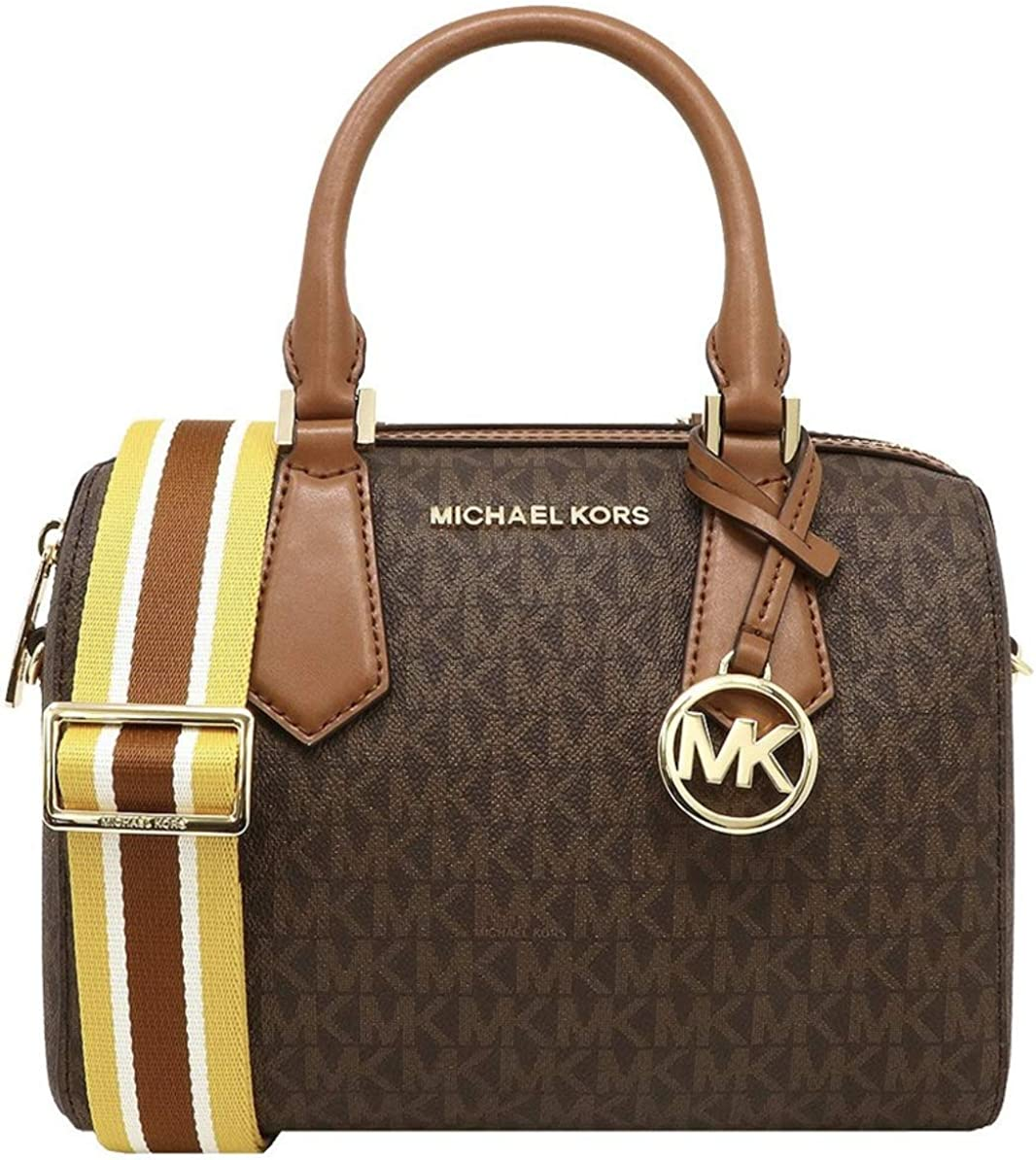 MICHAEL KORS HAYES SMALL DUFFLE BAG IN MK LOGO BROWN LUGGAGE
