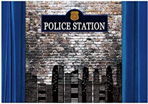 Funnytree 7x5FT Police Station Building Photography Backdrop for Boy Kid Birthday Party Banner Dress Up Brick Photocall Photoshoot Wall Photobooth Dessert Table Decoration Poster