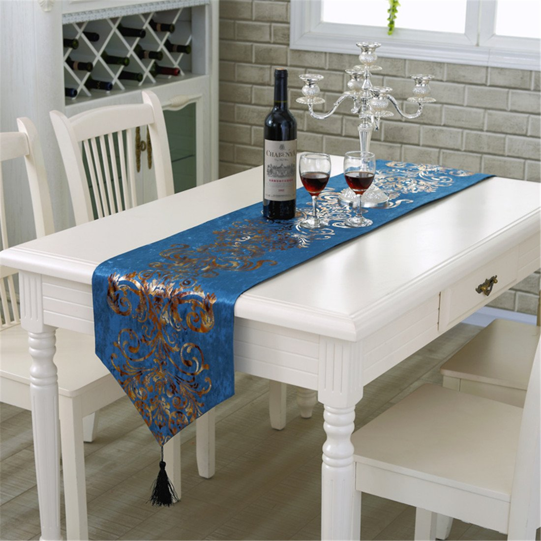 33cm x 180cm Velours mariage chemin de table tassel d/écoration beige 71x 13