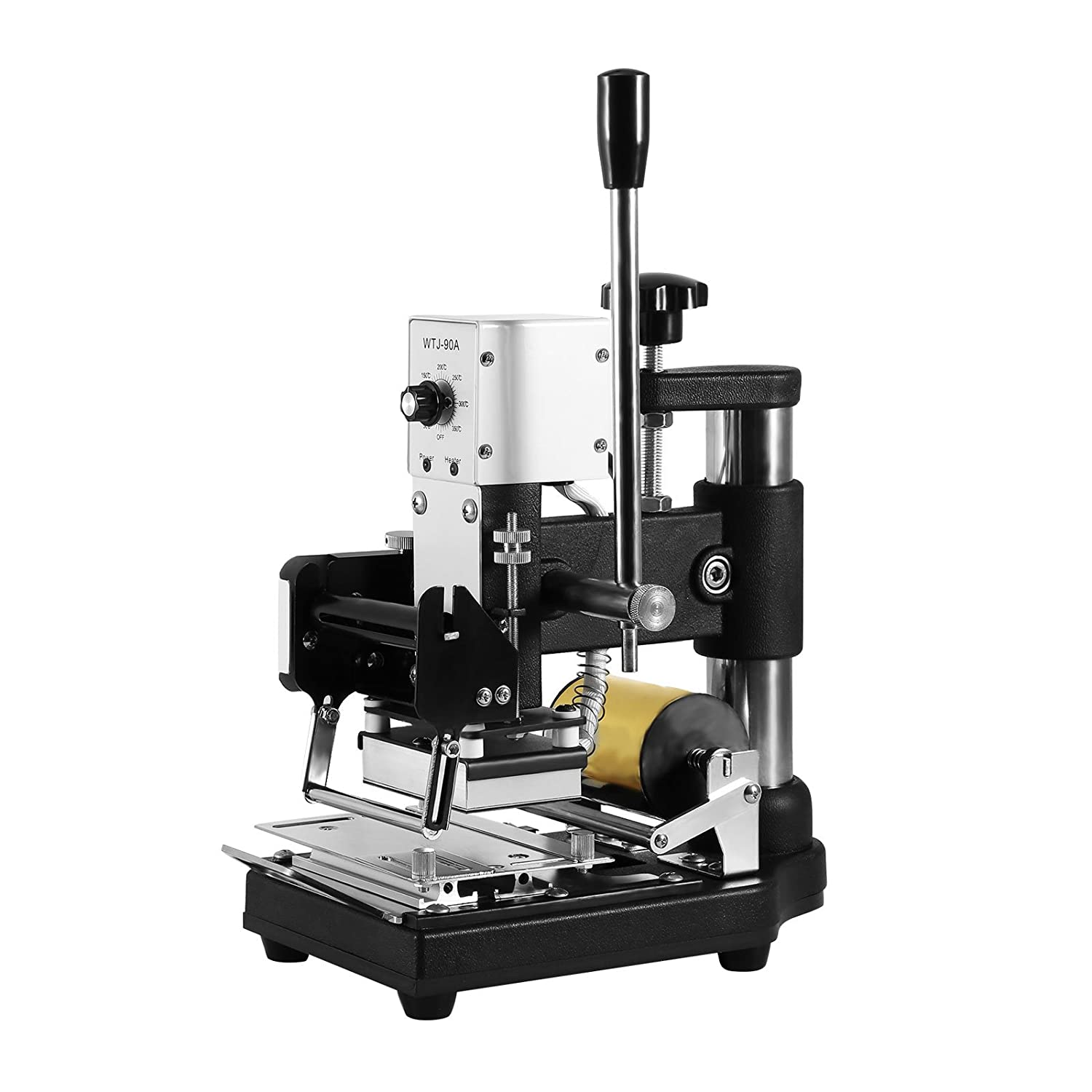 VEVOR Upgraded Hot Foil Stamping Machine 10x13cm Leather Bronzing Pressure Mark Machine 110V with Full Scale on The Base Plate for PVC Leather PU Paper Logo Embossing
