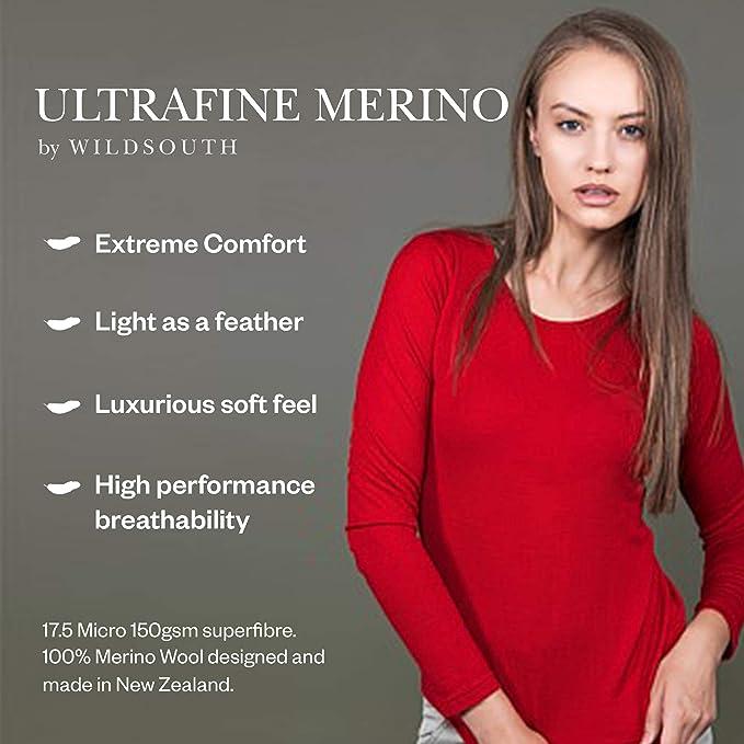 150 Lightweight Thermal Wild South Womens Merino T Shirt Short Sleeve Vee Neck Merino Wool Baselayer