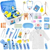 Kids Doctor Kit Toys- 35pcs Pretend Play Medical Set Dentist Surgeon with Doctor Costume and Caps for Boys Girls(Blue)