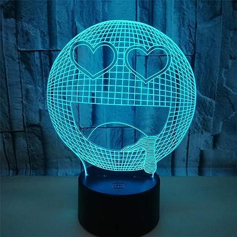 Lámparas de ilusión óptica de LED 3D cerca de luz,7coloresToque ...