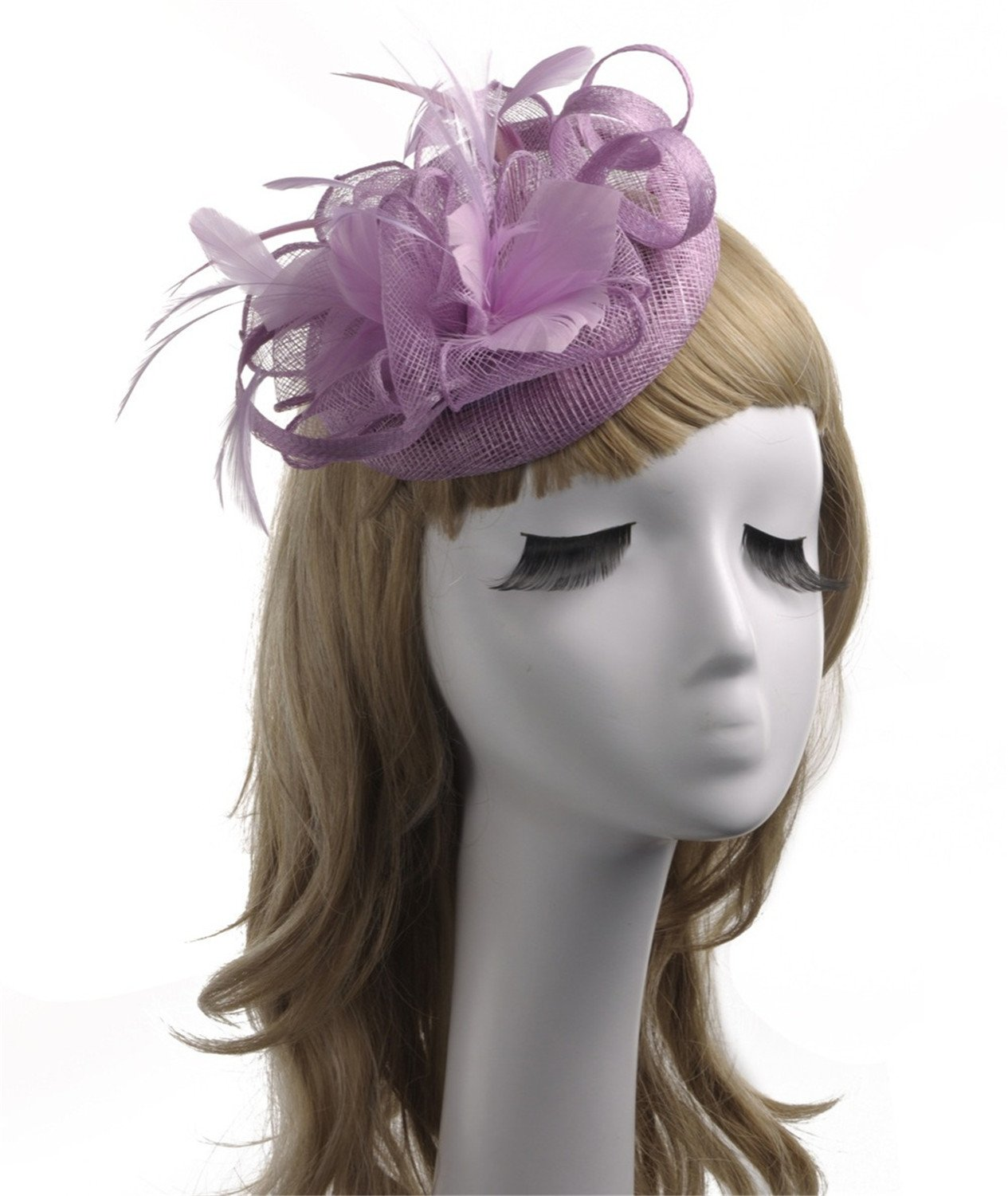 Kongsta Pink Black Wedding Bride Hat Bridal Hat Flower Headwear Evening Party Feather Womens Hats and with Hairpin Beige at Amazon Womens Clothing store: