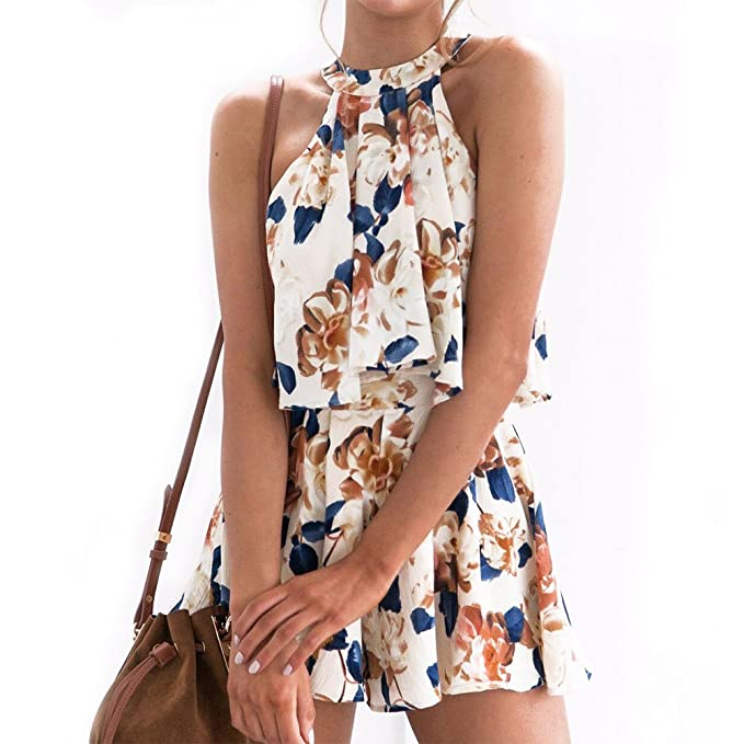 3a62d5d082c Amazon.com  WLLW Women Sleeveless O Neck Tie Back Pleated Floral Two Pieces  Suit Set Wear  Clothing