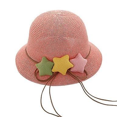 b4afb16b78f2d6 Star Toddler Straw Summer Sun Beach Hats Kids Travel Broad-Brimmed Hat Pink
