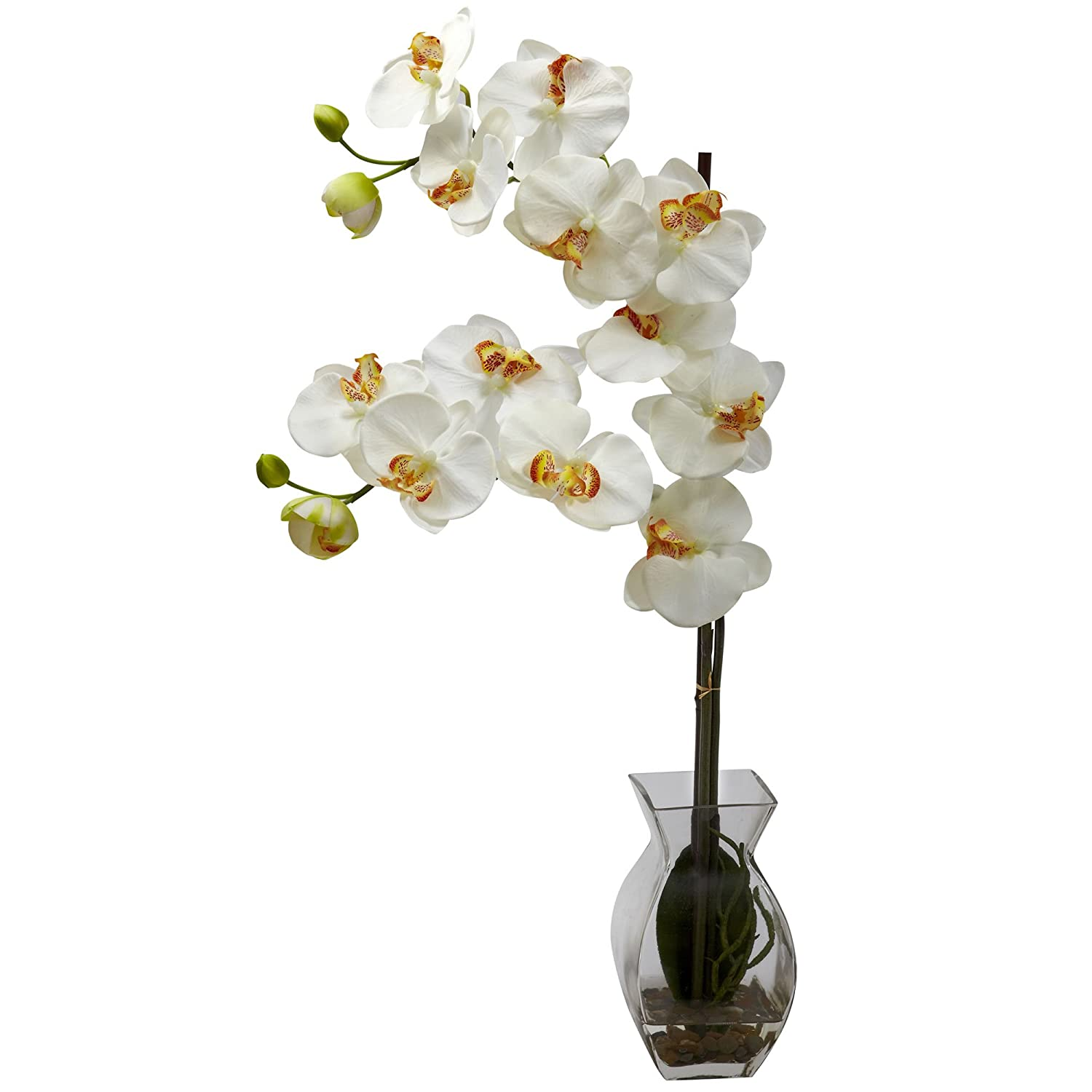 Nearly Natural 1295-CR Phalaenopsis Orchid with Vase Arrangement, Cream