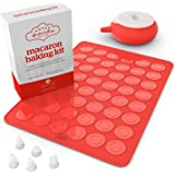 Bakeitfun Macaron Baking Kit, A Set Of Silicone Pastry Mat And Mold, Piping Bag & Decorating Pen, 5 Different Nozzles And A Cover For Storing Batter, Also Perfect For Cupcakes And Cakes And The Likes