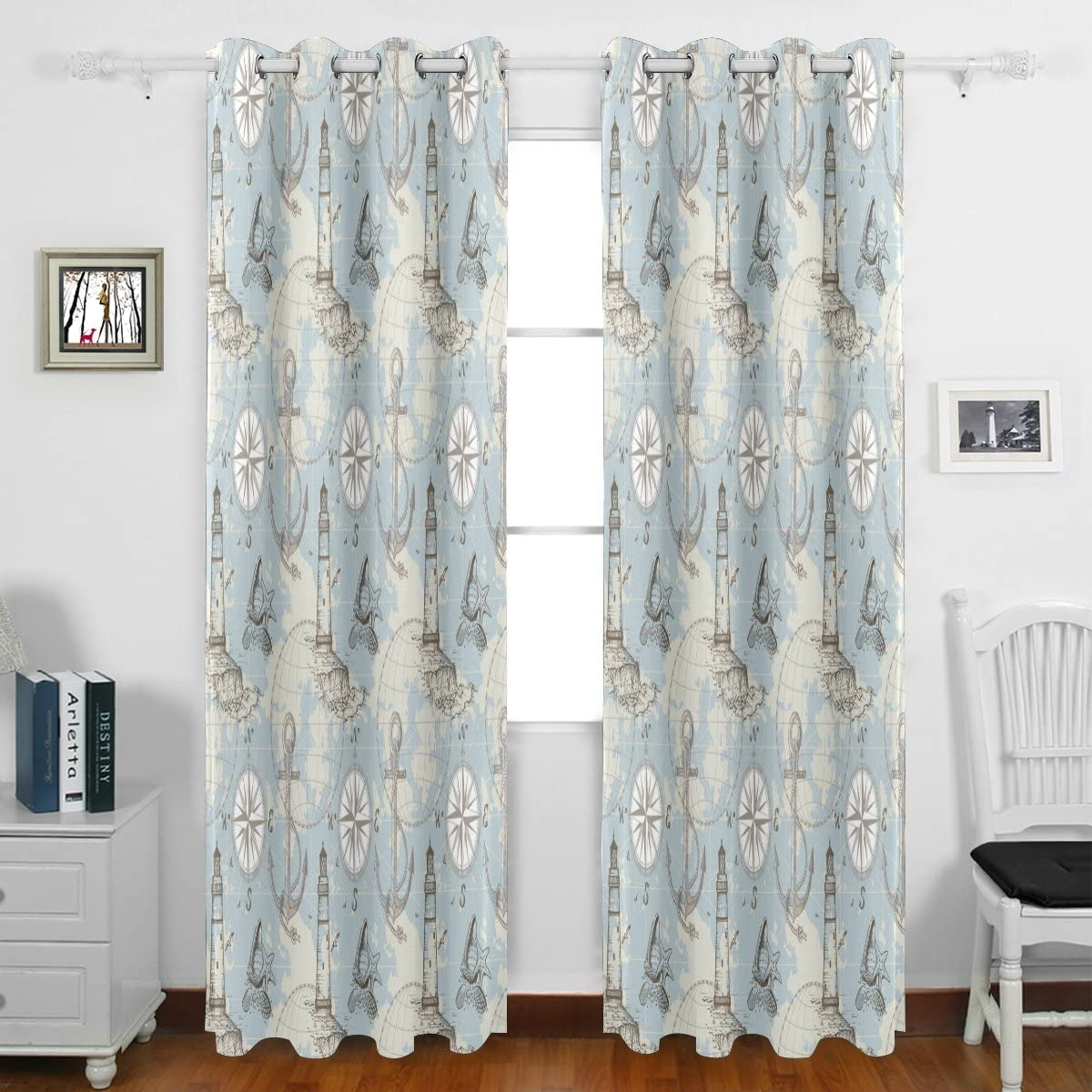 Nautical Anchor Helm Compass Map Starfish Pattern Ocean Theme Grommet Blackout Window Curtain Panels 55 w x 84 L Inches Long Set of 2,Window Treatment Drape for Living Room Bedroom Home Decor