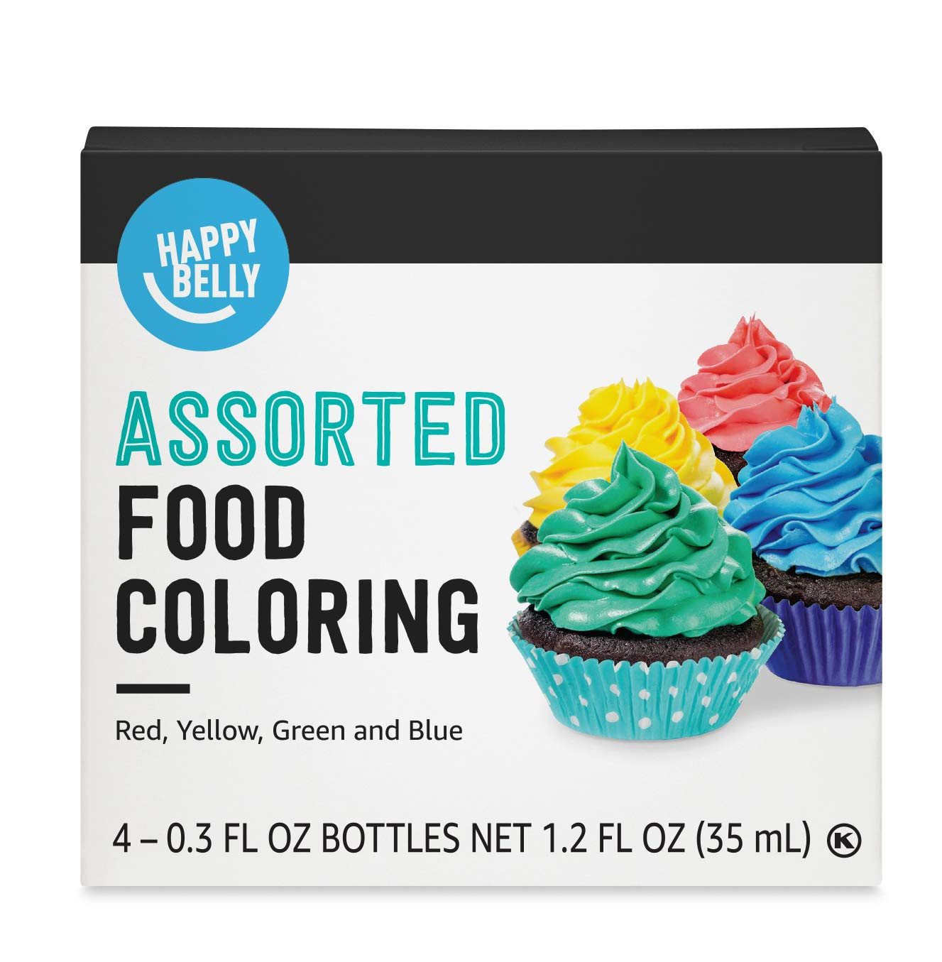 Amazon Brand - Happy Belly Assorted Food Coloring, 1.2 fl oz