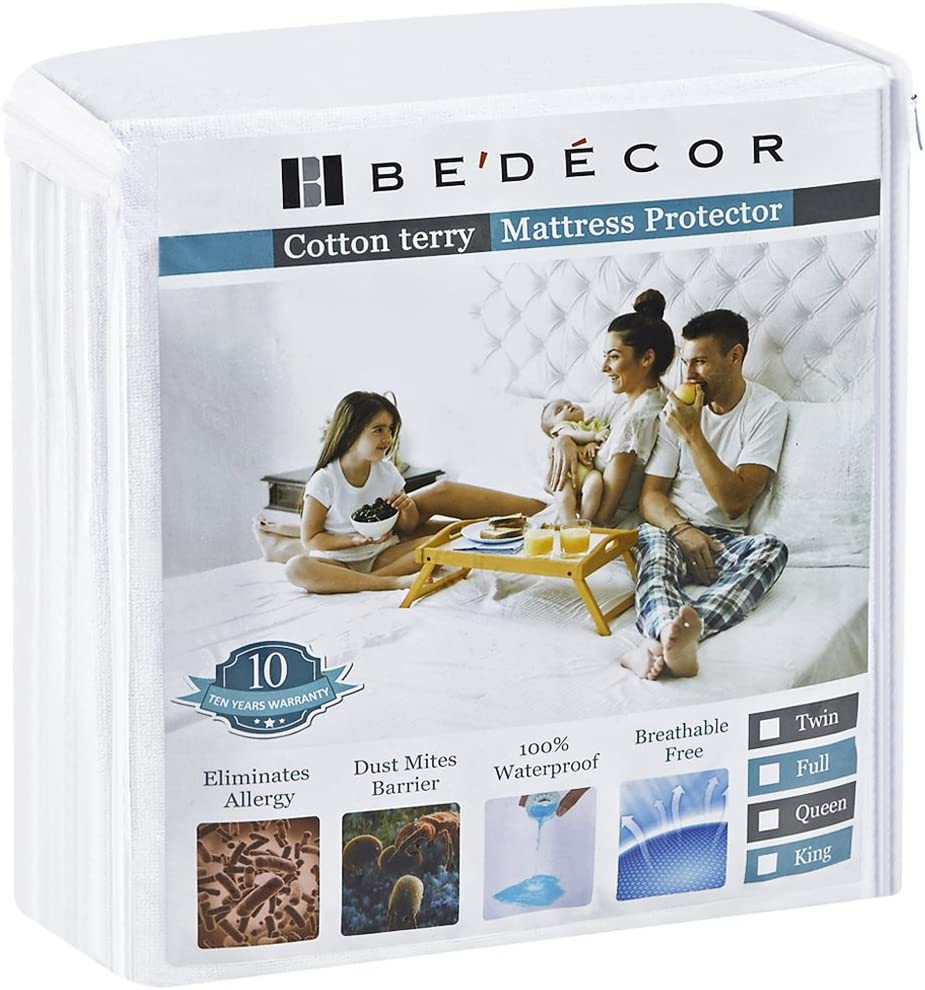 Bedecor Twin XL Size Waterproof Mattress Protector - Breathable Noiseless and Hypoallergenic - Premium Fitted Cotton Terry Cover