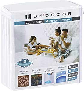 Bedecor Queen Size Waterproof Mattress Protector - Breathable Noiseless and Hypoallergenic - Premium Fitted Cotton Terry Cover