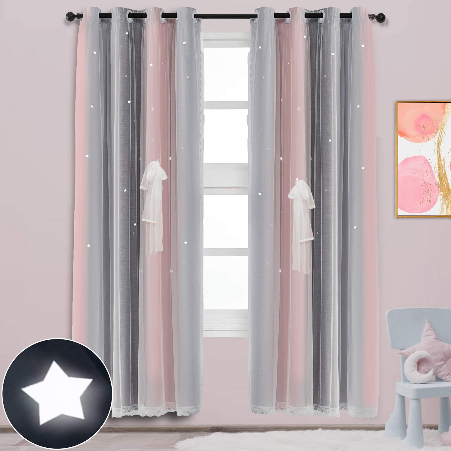ARTBECK Star Curtains Kids Curtains for Girls Bedroom Living Room Rainbow Ombre Stripe Blackout Curtain Double Layer Star Cut Out Gradient Grommet Window Curtains (1 Pc | 52W x 84L, Stripe Pink)