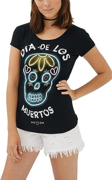 trueprodigy Casual Mujer Marca Camiseta con impresión Estampada Ropa Retro Vintage Rock Vestir Moda Cuello Redondo Manga Corta Slim Fit Designer Fashion T-Shirt: Amazon.es: Ropa y accesorios