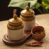 ExclusiveLane Old Fashioned Ceramic Jars With Hand Carved Tray -Pickle Jar Set Storage For Dining Table Diwali Gifts, Masala Container Kitchen Storage & Containers Kitchen ware, Table Tops, Spice Box Masala Container, Spice Holders Masala Container