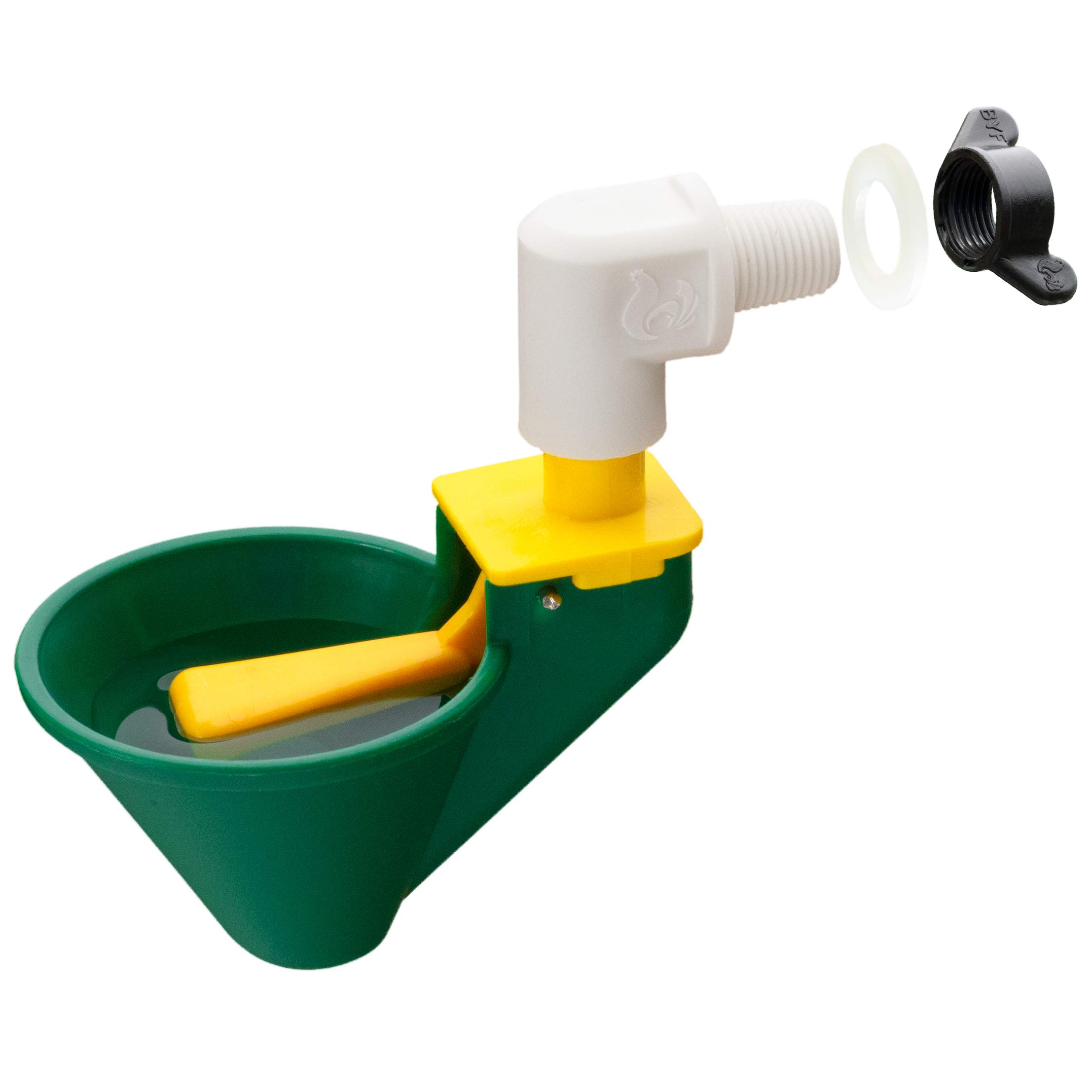 Automatic Premium Chicken Waterer Cups with Mounting Hardware (from Holland)   Float Activated Cup!   Qty: 4 (Green) by Chicken Culture