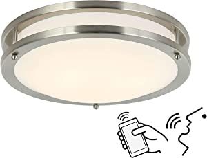 Smart Alexa Ceiling Light Work with Alexa and Google Assistant for Bedroom and Hallway, Dimmable and Color Temperature Changeable, 12 Inch No Hub Required, Only Support 2.4Ghz WiFi Network.