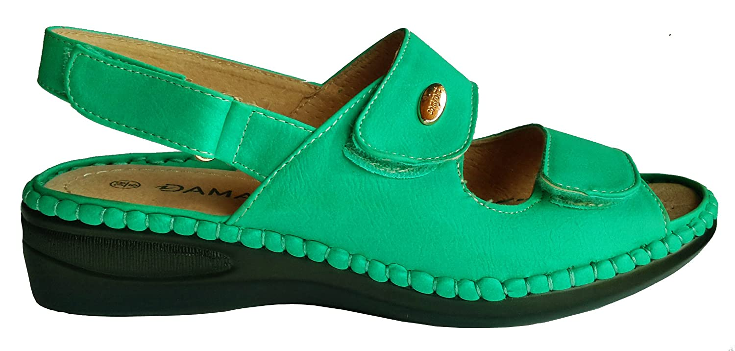wholesale dealer san francisco no sale tax Damart Ladies Velcro Fastening Leather Sandals in Turquoise Green