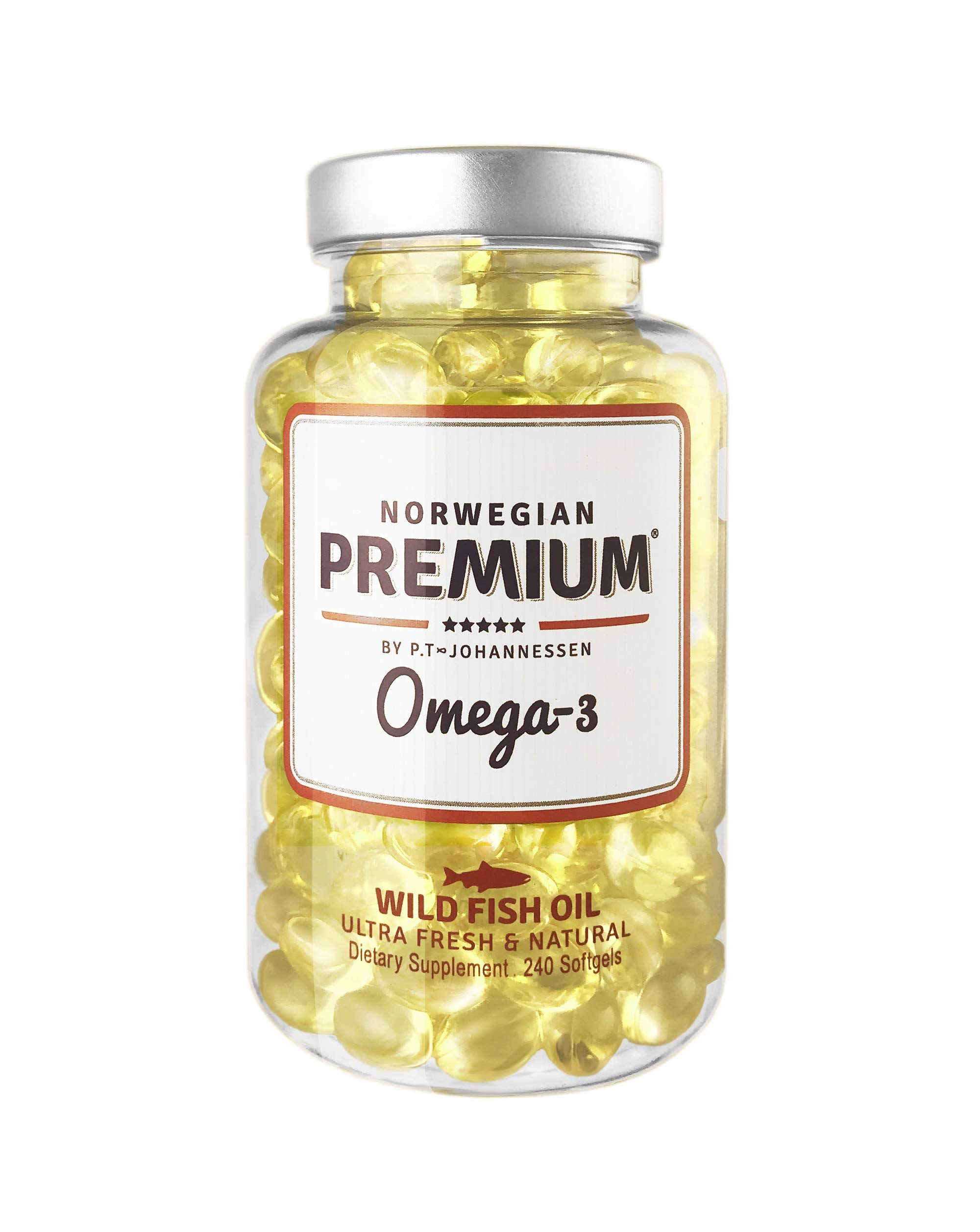 Norwegian Premium Omega-3 by P.T-Johannessen Ultra Fresh not from Concentrate burpless Fish Oil. Made in Norway. (240 Capsules (Wild Fish))