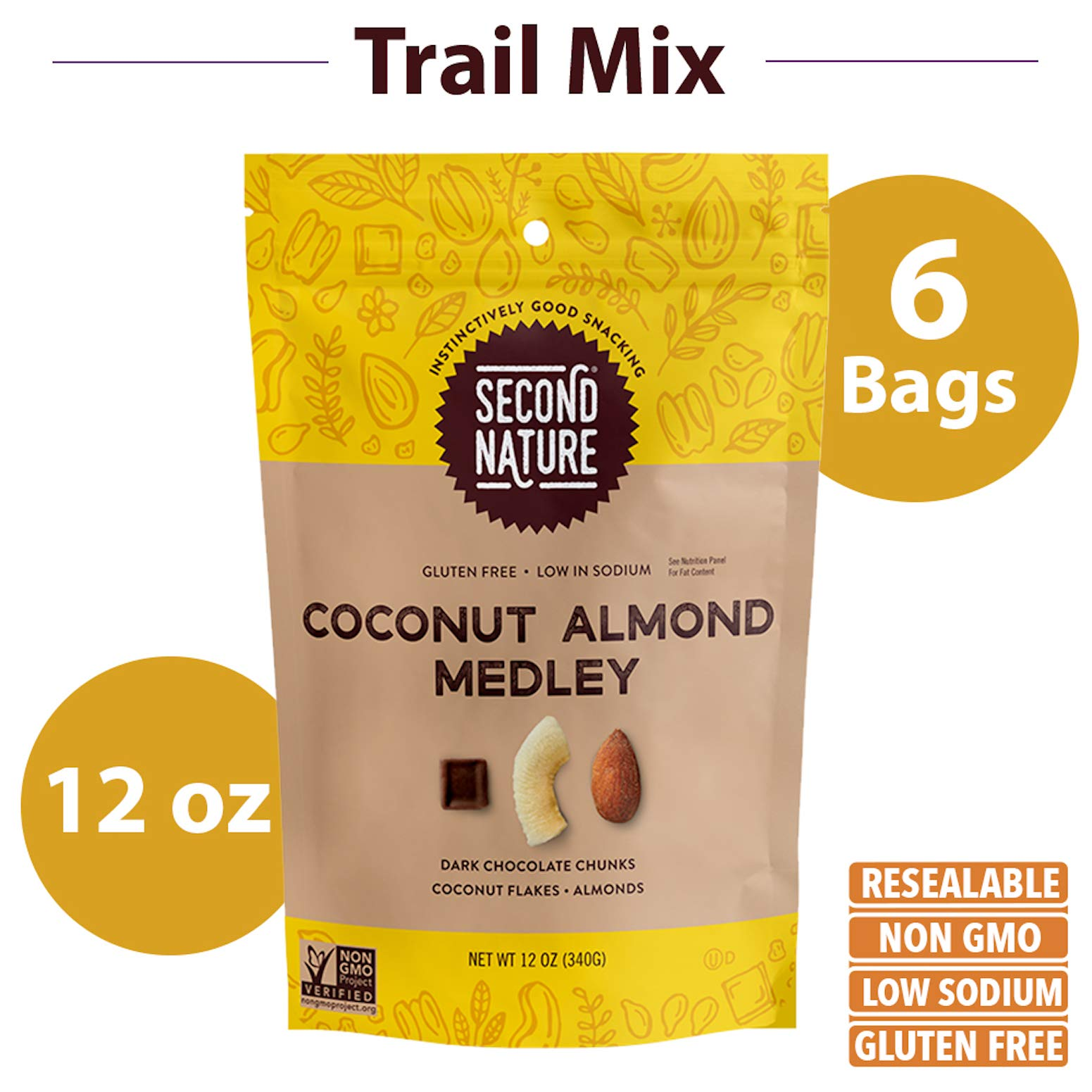 Second Nature Coconut Almond Medley Trail Mix - Healthy Nuts Snack - 12 oz Resealable Pouch (Pack of 6) by Second Nature