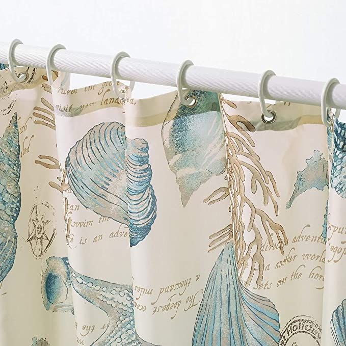 12 Rings Small Cloud Shower Curtain Seashell Ochre 180 x 200 cm incl