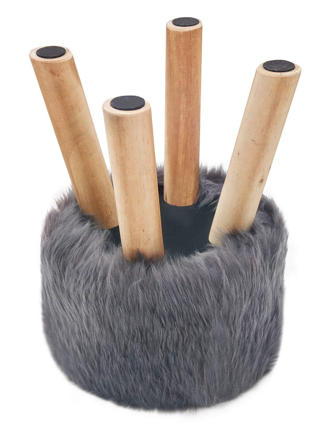 Suhu Fell Hocker Pouf Hocker Sitzhocker Sofa Puff Hocker Kleiner Fu/ßbank Rund aus Massivholz Brown